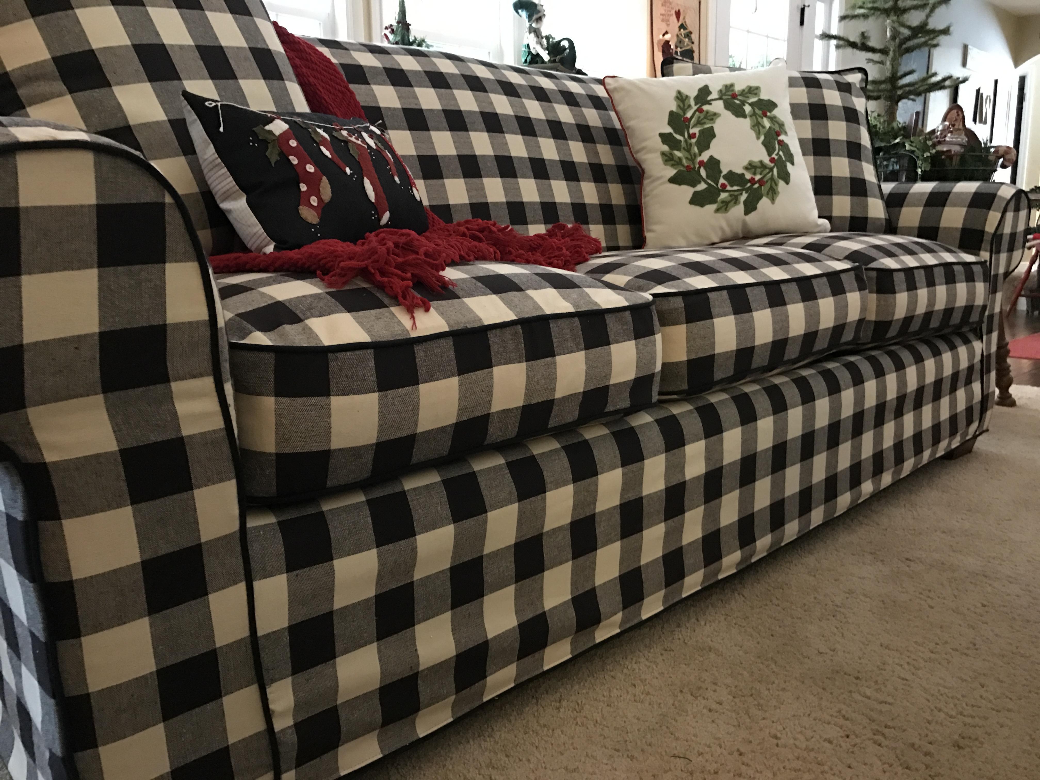 Piping And Pleats Buffalo Check Box Cushion Loveseat Slipcover Set